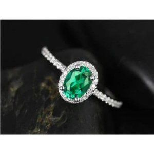 3.6 Ct Green Oval Cut Emerald Diamond Engagement R